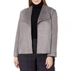 Kasper Women's Scuba Suede Long Sleeve Open Front Jacket