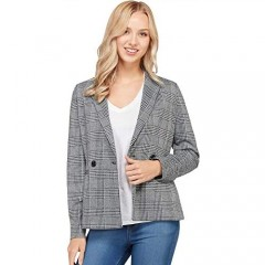Lock and Love Women's Lapel Collar Coat Check Plaid Long Sleeve Casual Jacket Blazer Outerwear