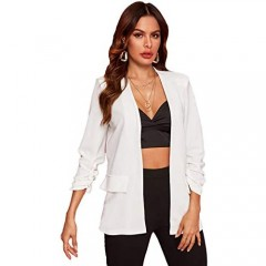 Milumia Women's Open Front Ruched Sleeve Work Office Solid Blazer Jacket Outwear White
