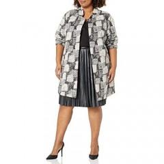 NINE WEST Women's Stand Collar Knit Jacquard Jacket