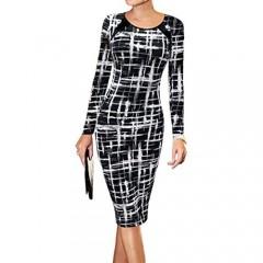 LunaJany Women's Long Sleeve Work Casual Business Church Midi Dress