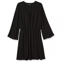 PARIS SUNDAY Women's Bell Sleeve Lace Up A-Line Georgette Dress