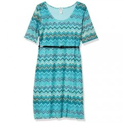Star Vixen Women's Plus Size Elbow Sleeve Fit N Flare Textured Print Lace Dress with Waist-Cinching Belt
