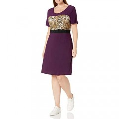 Star Vixen Women's Plus Size Sleeve Ity Knit Leopard Colorblock Short Skater Dress with Siimming Black Waist Inset