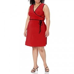 Star Vixen womens Plus-size Sleeveless Faux Wrap Short Dress With Contrast Piping