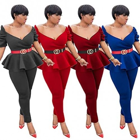 2 Piece Outfits for Women Off The Shoulder Short Sleeve Top and Long Skinny Pants Slim Fit Ruffle Pelplum Business Suit