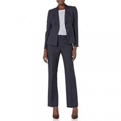 Le Suit Women's 2 Button Notch Collar Glazed Melange Pant Suit