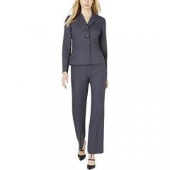Le Suit Women's 2 Button Notch Collar Pant Suit