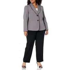 Le Suit Women's 2 Button Shawl Collar Pin Check Slim Pant Suit