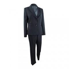 Le Suit Women's Glazed Melange 2 Button Notch Collar Pant Suit