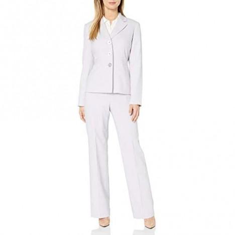 Le Suit Women's Melange Herringbone 3 Bttn Notch Lapel Pant Suit