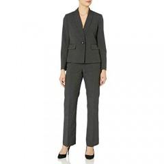 Le Suit Women's Mini Stripe 1 Button Shawl Lapel Pant Suit