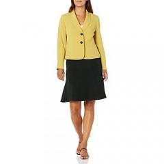 Le Suit Women's Petite 3 Button Shawl Collar Stretch Crepe Seamed Fit & Flare Skirt Suit