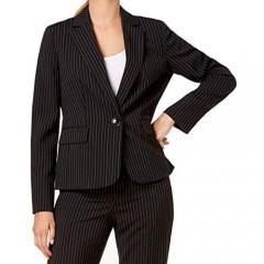 Le Suit Women's Pinstripe 1 Button Notched Collar Pant Suit
