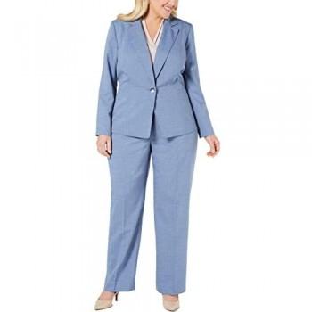Le Suit Women's Plus Size 1 Button Notch Collar Textured Weave Pant Suit