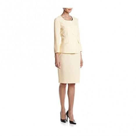 Le Suit Women's Seersucker 4 Button Jacket Skirt Suit
