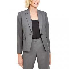 Le Suit Womens Single-Button Pants Suit Grey/Black Size 18