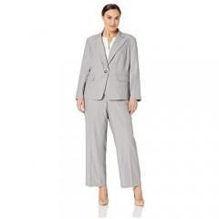 Le Suit Women's Size Plus 1 Button Notch Collar Melange Pant Suit