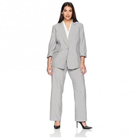 Le Suit Women's Size Plus Pinstripe 1 Btn Notch Collar Pant Suit