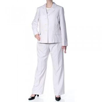 Le Suit Women's Stripe 3 Button Notched Collar Pant Suit