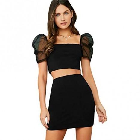 SweatyRocks Women's 2 Piece Outfits Short Sleeve Crop Top and Bodycon Skirt Set