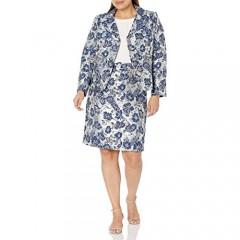 Tahari ASL Women's Plus Size Nested 4 Button Metallic Jacquard Jacket and Pencil Skirt