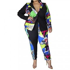 Women Plus Size 2 Piece Outfits Casual Printed Long Sleeve Blazer and Pants Set Sexy Jacket Suit Party Club